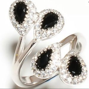 Black Onyx Cocktail Ring Size 8